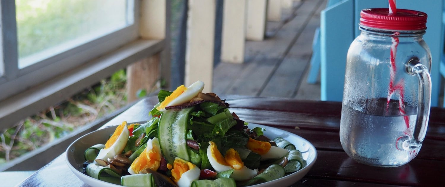 farm fresh salad at beachfront restaurant