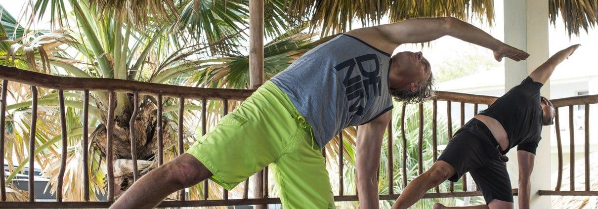 men practicing yoga