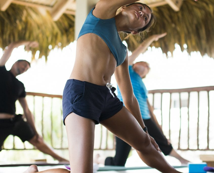 woman practicing yoga yoga loft cabarete